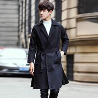 秋季青年潮流男士长款风衣时尚修身收腰大衣韩版男披风褂子纯色服