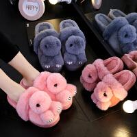秋冬季儿童棉拖鞋男童女童宝宝可爱防滑保暖包跟室内亲子居家拖鞋