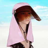 卡头挡太阳女夏天电动自行镜片开骑摩托车用防晒帽遮脖子脸