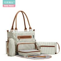 奶瓶包妈咪包手提包多功能大容量妈妈包母婴宝宝外出包手拎斜挎包 深卡其布色
