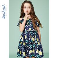 【秒杀价:89元】souhait水孩儿童装夏季新款连衣裙半袖裙儿童裙子雪纺裙SHNXGD09CZ569