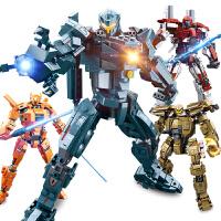 小鲁班环太平洋2机器人复仇流浪者军刀雅典娜凤凰游击士英勇保护者拼装积木机甲模型儿童玩具男孩5-10岁