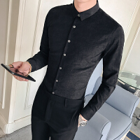 男士磨毛长袖衬衫修身韩版商务休闲纯色白衬衣发型师寸衣