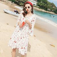 2018夏装新款性感美观碎花气质荷叶袖个性百搭高腰短裙时尚潮流沙滩裙 花色