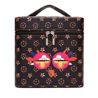 韩国化妆包大容量手提化妆箱多功能可爱便携旅行大号收纳盒洗漱包shq 深棕色