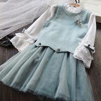 韩国童装女童针织背心+衬衣连衣裙两件套儿童韩版纯棉公主裙套装