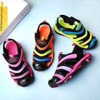 男童凉鞋女童夏季毛毛虫潮中大童宝宝包头儿童沙滩鞋