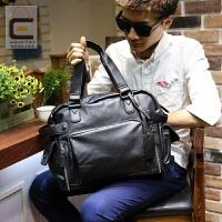 男包时尚休闲单肩包斜挎包手提包男士皮包横款背包商务旅行包潮包 黑色 全场满2件送手包