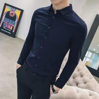 2018春装新款纯色男士长袖衬衫韩版修身免烫微弹力衬衣青少年潮流