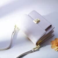 白色小包包女2018新款欧美链条风琴包迷你包多层斜挎方包单肩包潮 米白色 配皮肩带