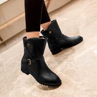 彼艾2017秋冬靴新款马丁靴中筒靴休闲皮带扣粗跟低跟女靴子