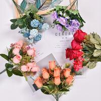 玫瑰花束仿真花室内摆设装饰假花客厅卧室花瓶装饰花塑料花艺摆件