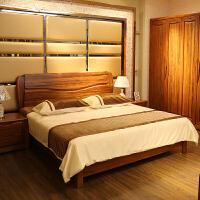 实木床1.8米双人床卧室乌金木婚床大床纯新中式实木家具