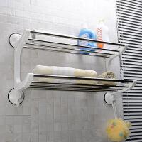 强力吸盘浴室置物架3代40cm卫生间不锈钢壁挂厕所两层洗手间卫浴收纳架1804