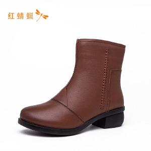 红蜻蜓圆头纯色简约时尚百搭女靴子