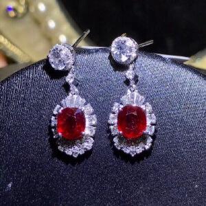 高品质缅甸红宝石耳坠,晶体通透
