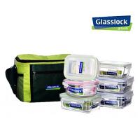 三光云彩GLASSLOCK玻璃饭盒微波炉保鲜保温套装六件套GL37-6B便当盒
