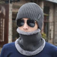 帽子男保暖黑色包头针织毛线加绒加厚防风骑车围脖两件套帽潮