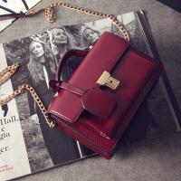 新款女包潮欧美复古锁扣风琴小方包休闲手提单肩斜挎包小包包 酒红色