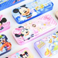 迪士尼小学生文具盒多功能儿童女男孩米奇铁皮铅笔盒幼儿园双层铁盒笔盒可爱1-3年级3-5年级公主