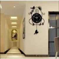 钟表挂钟客厅创意简约田园时钟挂表卧室静音夜光现代石英