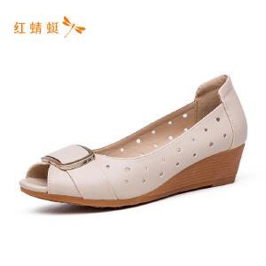 【专柜正品】红蜻蜓女鞋时尚鱼嘴镂空搭扣坡跟女单鞋