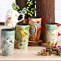 Evergreen爱屋格林马克杯情侣对杯陶瓷杯带盖大容量咖啡杯水杯子礼盒装