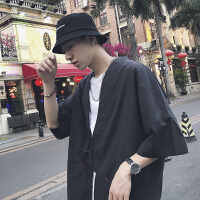 日系复古潮流开衫系带短袖衬衫男夏季色薄款宽松发型师半袖衬衣