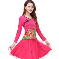 2016春装新款广场舞服装套装长袖上衣裙子跳舞服舞蹈服装