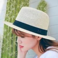户外防晒度假太阳帽沙滩帽 新款名媛草帽女士小礼帽 出游登山防晒帽子