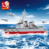 【满200减100】小鲁班航母战斗群军事系列儿童益智拼装积木玩具 驱逐舰M38-B0390