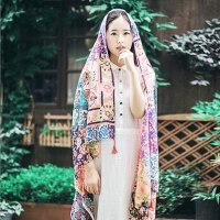 户外民族风棉麻围巾女长款三四十防晒披肩两用旅游度假丝巾超大沙滩巾