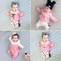 婴儿春装新生儿外出抱衣服0-3个月男女宝宝6长袖春秋季哈衣连体衣