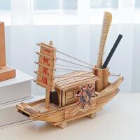一帆风顺帆船摆件音乐盒复古木质轮船模型摆件乌篷船发条式桌面摆件
