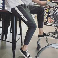 休闲裤子男士韩版潮流运动裤哈伦马卫裤腿小脚铅笔工装九分裤修身