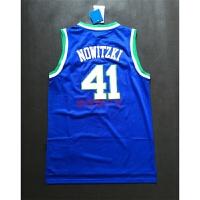 篮球球衣小牛队41#诺维斯基复古蓝色网眼刺绣球衣