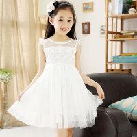 夏季仙公主裙蓬蓬纱中大儿童白色淑女裙子女孩夏天女童纱裙连衣裙