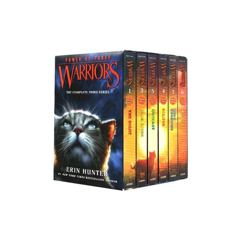 Warriors 猫武士 英文原版 第三部曲 三力量 Power of Three Box Set Volumes 6册全套装 预视力量 暗河汹涌 驱逐之战 天蚀遮月 暗夜长影 拂晓之光