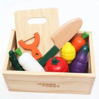 木制磁性创意木盒水果蔬菜切切乐儿童过家家切切看玩具