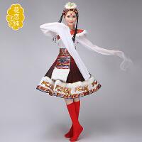 女藏族舞蹈服装西藏水袖演出服少数民族表演服藏族风演出服饰