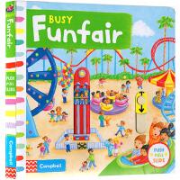 Busy Funfair 系列纸板书 英文原版绘本 繁忙游乐场 机关 操作 活动 边玩边学