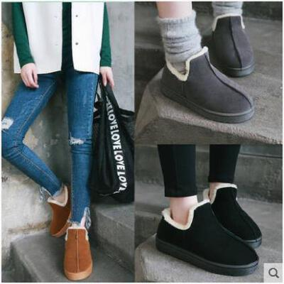 加绒面包鞋女冬季新款韩版防滑平底加厚棉鞋保暖月子鞋雪地靴