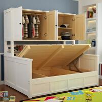 床柜一体小户型多功能童床书柜床带储物组合书架床实木衣柜床
