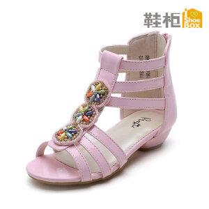 SHOEBOX/鞋柜 春夏平底女鞋 甜美新款罗马风深口露趾女童凉鞋