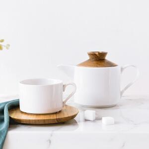 奇居良品 麦格陶瓷相思木盖陶瓷茶壶水壶水杯木碟咖啡杯碟