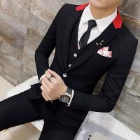 商务绅士青年修身韩版西服马甲西裤三件套装男士婚礼伴郎新郎服潮