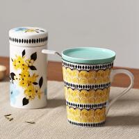 Evergreen爱屋格林创意时尚陶瓷茶隔杯密封茶叶罐套装带盖过滤泡茶杯水杯