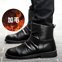 男马丁靴保暖加绒男靴机车靴潮男英伦高帮鞋短靴黑色休闲鞋户外靴冬季套筒圆头平跟韩版沙漠靴