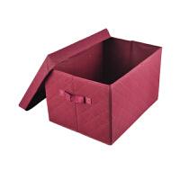酒红色收纳箱 整理箱(大号)有盖储物箱玩具收纳盒杂物箱整收纳盒布艺特大收纳袋打包袋整理箱