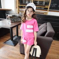 女童夏装套装2018新款短袖潮衣女孩运动服洋气时髦12-15岁大童装 玫红色
